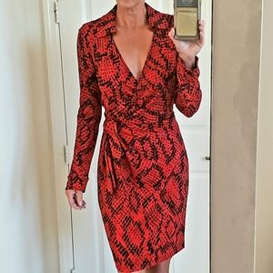 DIANE VON FURSTENBERG Savannah python red dress